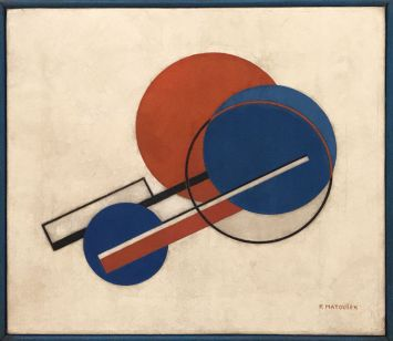 """Composition II"" (second half of the 1920s), František Matoušek. Oil on canvas, frame by artist."