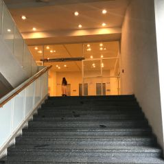 A staircase. Notice the extremely Bauhausy entrance on top.