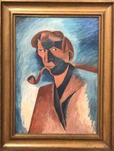 """Smoker (Self-Portrait), Still Life on the reverse"" (1910), Bohumil Kubišta. Oil on canvas."